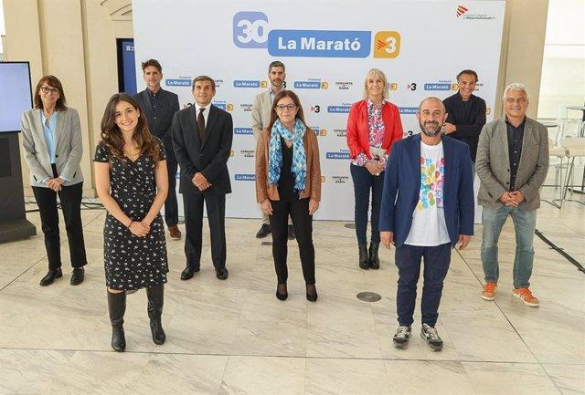 Roda de premsa de presentació de la Marató de Tv3 i Catalunya Ràdio de 2021 amb la vicepresidenta de la Corporació Catalana de Mitjans Audiovisuals (CCMA), Núria Llorach