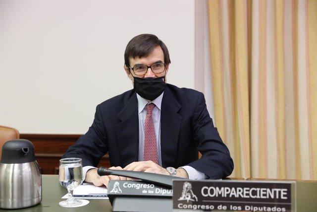 Archivo - El secretario de Estado para la Unión Europea, Juan González-Barba Pera, comparece en la comisión Mixta para la Unión Europea del Congreso de los Diputados, en Madrid (España), a 9 de diciembre de 2020. Durante la comisión se desarrollará un deb