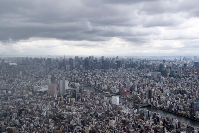 07 August 2021, Japan, Tokyo: An aerial view of Tokyo from Tokyo Skytree, television tower in the Japanese capital Tokyo. Photo: Marijan Murat/dpa