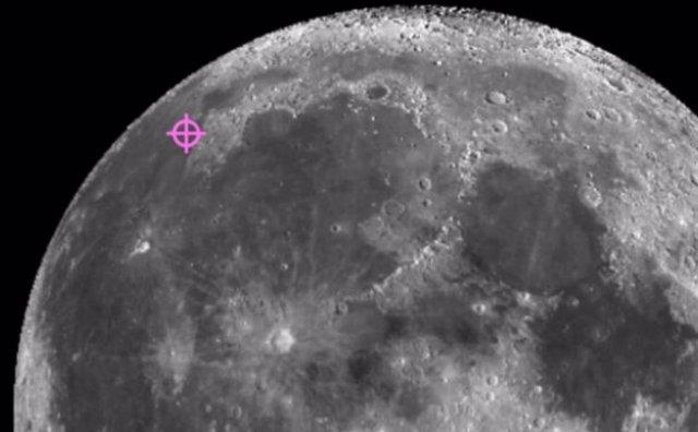 Un símbolo marca el lugar donde la nave espacial Chang'e-5 aterrizó y recogió muestras en la luna.