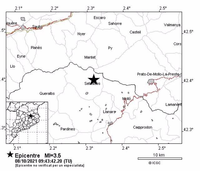 Imatge de la zona on hi ha hagut el sisme