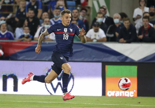 Archivo - Lucas Digne of France during the FIFA World Cup Qatar 2022, Qualifiers, Group D football match between France and Bosnia and Herzegovina on September 1, 2021 at Stade de La Meinau in Strasbourg, France - Photo Jean Catuffe / DPPI