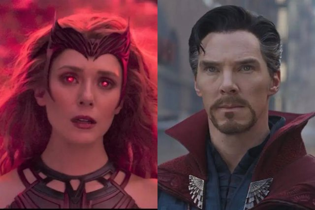 Elisabeth Olsen y Benedict Cumberbatch como Bruja Escarlata y Doctor Strange