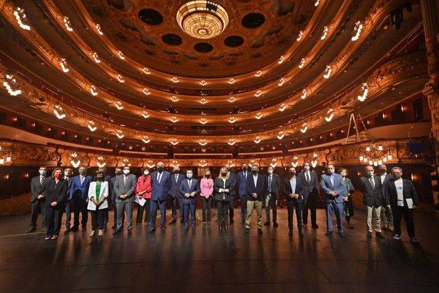 El president de la Generalitat, Pere Aragonès, encapçala la reunió extraordinària del patronat de la Fundació del Gran Teatre del Liceu