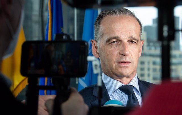 23 September 2021, US, New York: Heiko Maas, German Foreign Minister, speaks during a press statement before before a meeting of the Alliance for Multilateralism at the German House, the Permanent Mission of the Federal Republic of Germany to the United N