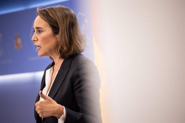 La portaveu parlamentària del PP, Cuca Gamarra, durant una roda de premsa posterior a la Junta de Portaveu al Congrés dels Diputats, a 5 d'octubre de 2021, a Madrid