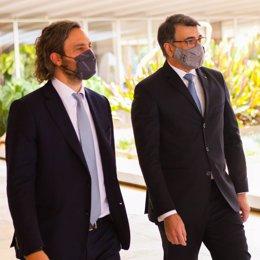 El ministro de Exteriores argentino, Santiago Cafiero, y su par brasileño, Carlos França.