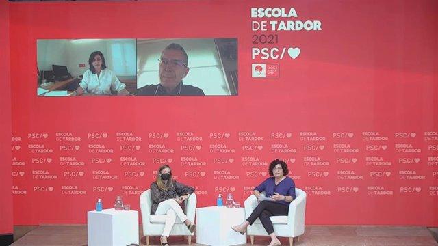 La presidenta del Govern de La Rioja, Concha Andreu, el secretari general de Repte Demogràfic, Paco Boya, la presidenta de la Diputació de Cadis, Irene García, i la diputada del PSC en el Parlament Rosa Maria Ibarra