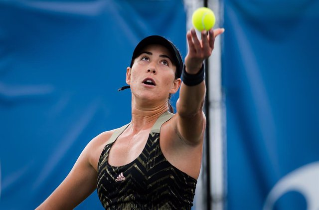 Garbine Muguruza of Spain in action during the final of the 2021 Chicago Fall Tennis Classic WTA 500 tennis tournament against Ons Jabeur of Tunisia