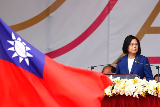 October 10, 2021, Taipei, Taipei, Taiwan: Taiwanese President Tsai Ing-wen delivers a speech during the Double-Tenth National Day Celebration Ceremony, following Chinese President Xi Jinpingâ€s vow to unify Taiwan by peaceful means. The self ruled island