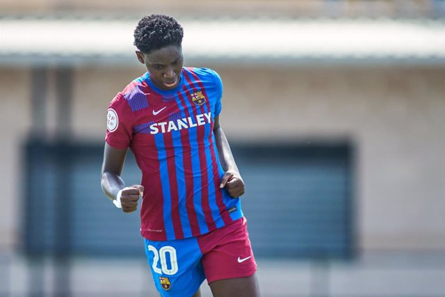 Oshoala of Barcelona celebrates a goal during the Spanish women's league, Primera Iberdrola, football match played between Real Betis Balompie and FC Barcelona at Felipe del Valle stadium on september 11, 2021 in Sevilla, Spain.