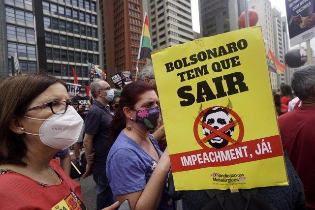 Manifestación contra el presidente de Brasil, Jair Bolsonaro, en Sao Paulo.