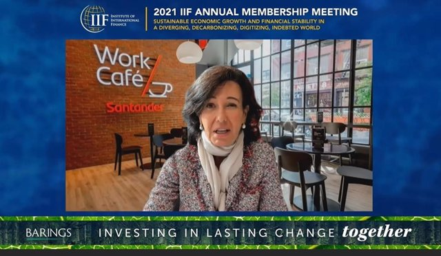 La presidenta de Banco Santander, Ana Botín, durante la '2021 IIF Annual Membership Meeting'.