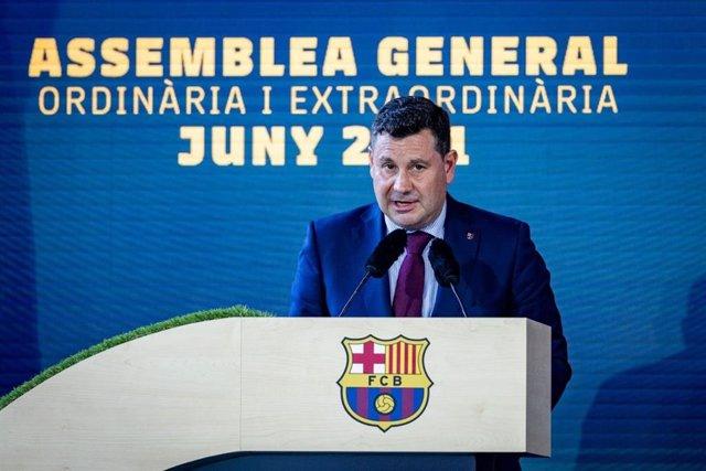 Archivo - El vicepresidente económico del FC Barcelona, Eduard Romeu, en la Asamblea General Ordinaria y Extraordinario del club blaugrana realizada el 20 de junio de 2021 en el Camp Nou