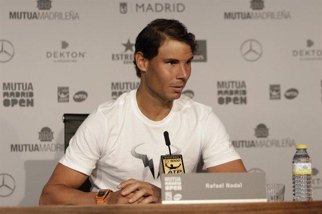 Archivo - Rafa Nadal en la rueda de prensa de el Mutua Madrid Open