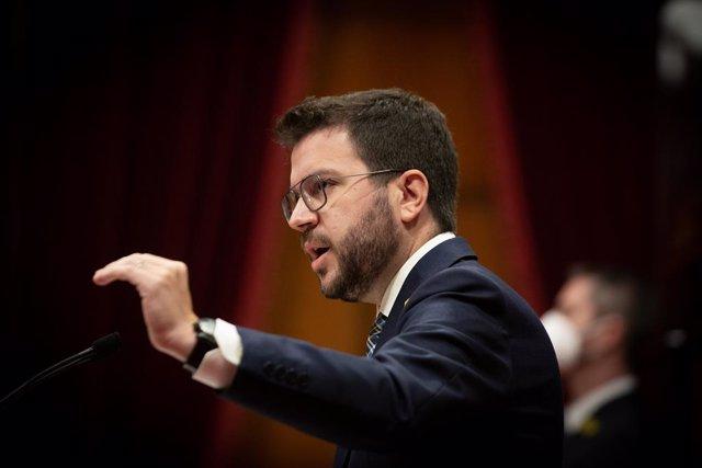 El president de la Generalitat, Pere Aragonès, en el ple del Parlament.