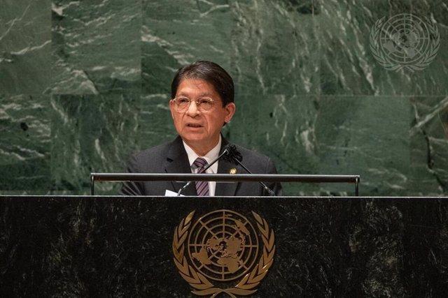 El canciller de Nicaragua, Denis Moncada, durante su intervención en la Asamblea General de Naciones Unidas