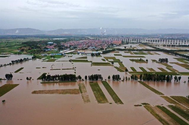 Inundaciones y desbordamiento del río Amarillo en la provincia de Shanxi, en el norte de China