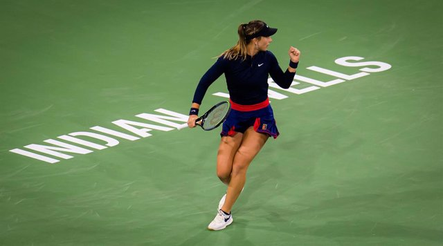 Paula Badosa of Spain in action during the third round at the 2021 BNP Paribas Open WTA 1000 tennis tournament against Cori Gauff of the United States