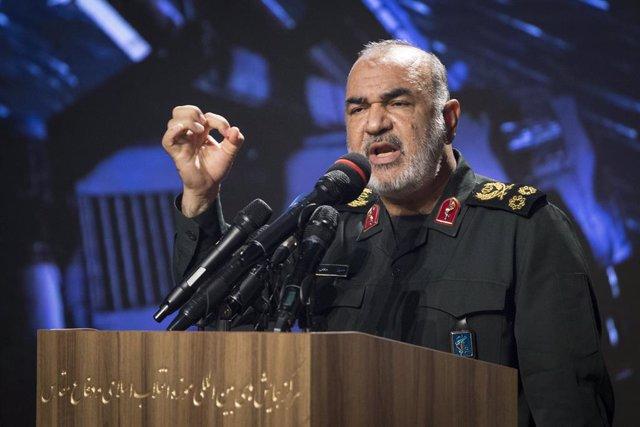 Archivo - El comandante de la Guardia Revolucionaria de Irán, Hosein Salami