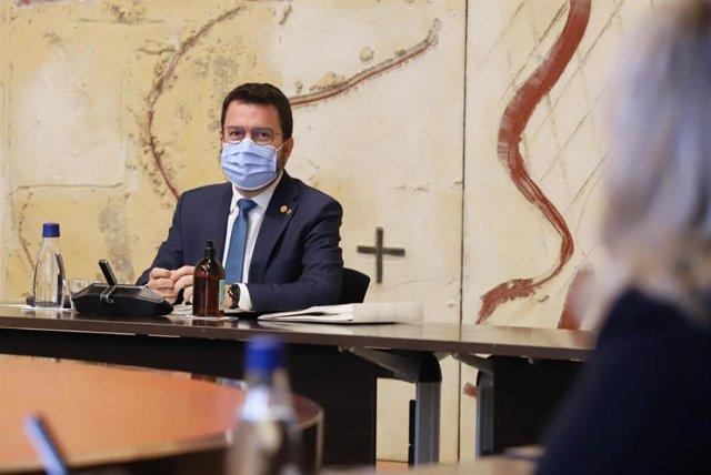 El president de la Generalitat, Pere Aragonès, en el Consell Executiu del dimarts 5 d'octubre de 2021. ARXIU