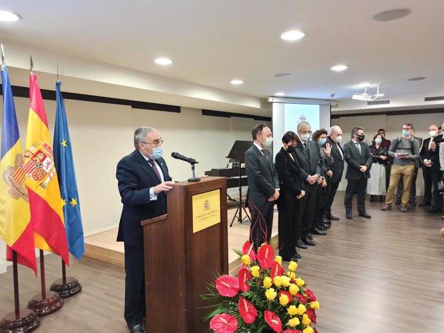 L'ambaixador d'Espanya a Andorra, Àngel Ros, durant el discurs pronunciat en la recepció del 12 d'Octubre