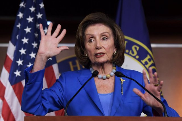 12 October 2021, US, Washington: Speaker of the US House of Representatives Nancy Pelosi speaks at her weekly press conference about Debt Ceiling and Social Safety Net bills at HVC/Capitol Hill. Photo: Lenin Nolly/ZUMA Press Wire/dpa