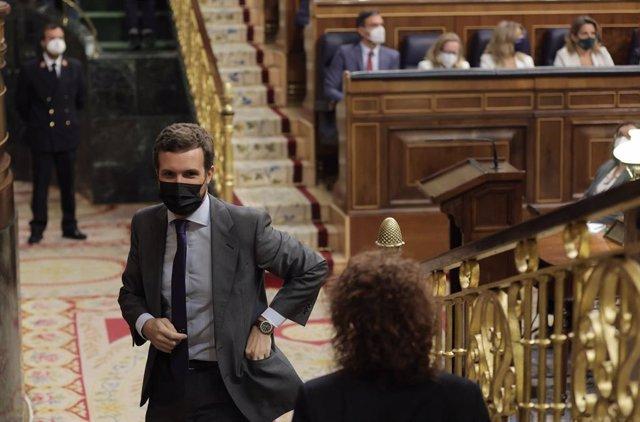 El líder del PP, Pablo Casado, en una sessió de control al Govern al Congrés dels Diputats, a 29 de setembre de 2021, a Madrid, (Espanya).