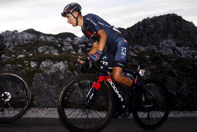 El ciclista colombiano Iván Ramiro Sosa en La Vuelta 2020, en la etapa 12 entre Pola de Laviana y el Alto del Angliru