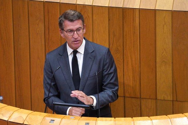 El presidente de la Xunta, Alberto Núñez Feijóo, en el debate de política general