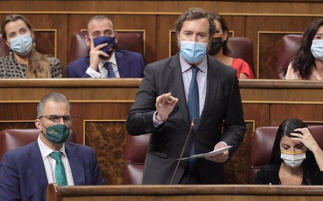 El portavoz de Vox en el Congreso, Iván Espinosa de los Monteros, interviene en una sesión de control al Gobierno en el Congreso