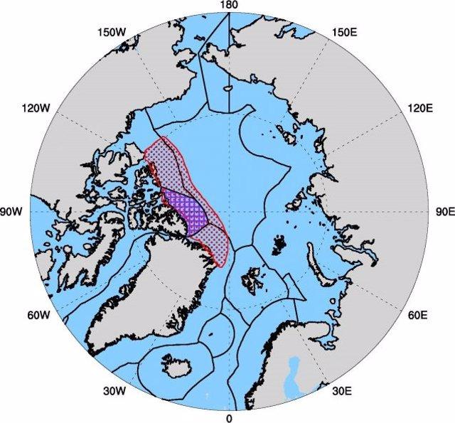 El Océano Ártico Y Su Última Zona De Hielo Proyectada (Delineada En Rojo), Al Norte De Groenlandia Y El Archipiélago Ártico Canadiense.