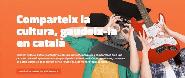 Vista de l'espai web del projecte 'Tàndem Cultural'