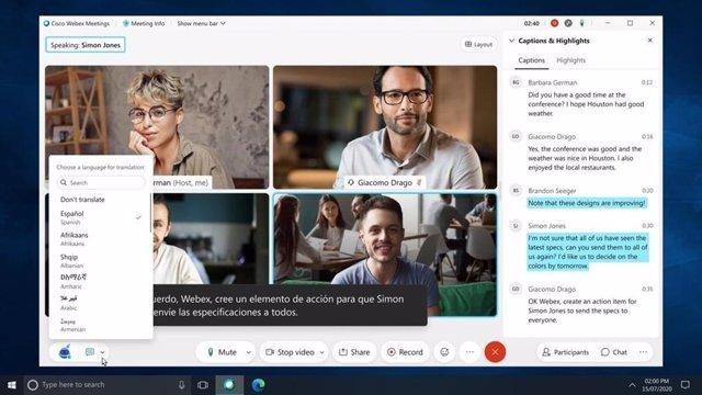 Videollamadas a través de Cisco Webex.