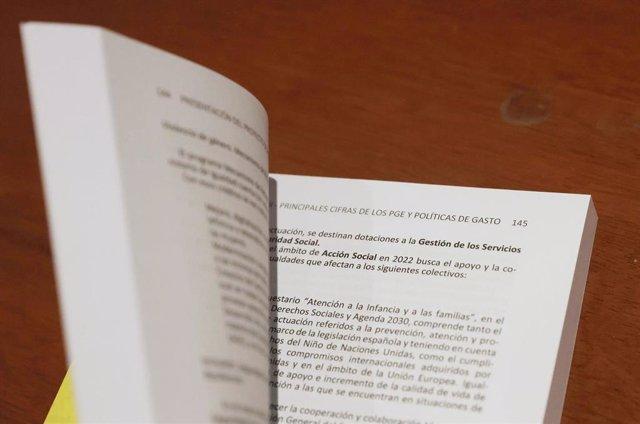 Documento del Proyecto de Ley de Presupuestos del Estado de 2022.