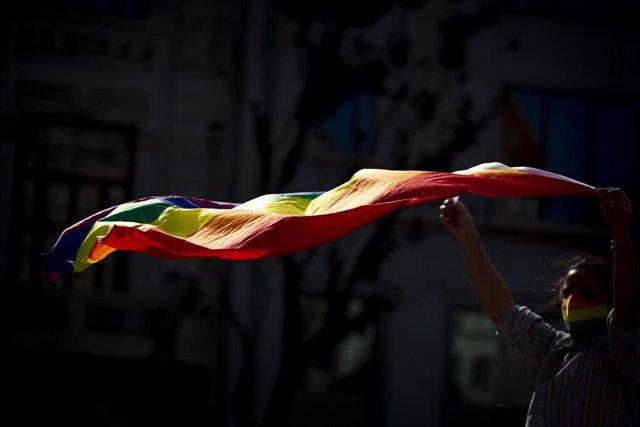 Archivo - Bandera arcoíris del orgullo