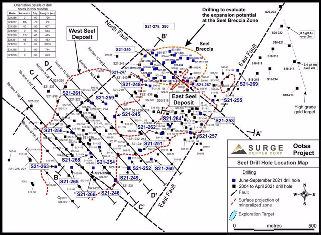 Figure 1. Plan map of drill hole locations for 2021 Ootsa summer and fall drill program