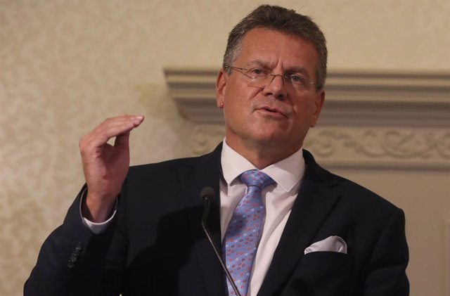 Archivo - 10 September 2021, United Kingdom, Belfast: European Commission Vice President Maros Sefcovic speaks during a press conference at the Crowne Plaza hotel at the end of his two-day visit to Northern Ireland. Photo: Brian Lawless/PA Wire/dpa