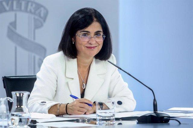 La ministra de Sanidad, Carolina Darias, durante una rueda de prensa posterior a la reunión del Consejo Interterritorial del Sistema Nacional de Salud.