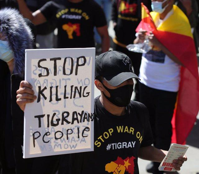 Archivo - Protesta por el centro de Londres para protestar contra la guerra en la región de Tigray en Etiopía.