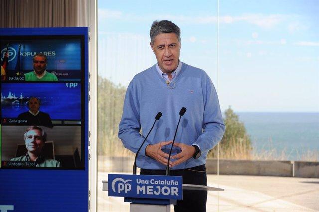 Archivo - Arxivo - El president de Badalona, Xavier García Albiolinterviene durant un acte de campanya amb alcaldes a Badalona, Barcelona, Catalunya (Espanya), a 31 de gener de 2021.