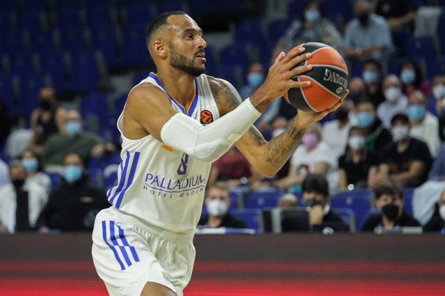Adam Hanga of Real Madrid in action during Turkish Airlines Euroleague basketball match between Real Madrid and A.S. Monaco at Wizink Center on October 13th, 2021 in Madrid, Spain.