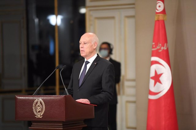 11 October 2021, Tunisia, Carthage: Tunisian President Kais Saied speaks during the new government's swearing-in ceremony at the Carthage Presidential Palace. Photo: Chokri Mahjoub/ZUMA Press Wire/dpa