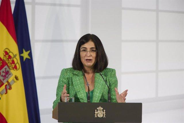 La ministra de Sanidad, Carolina Darias, en el acto institucional 'Salud Mental y COVID-19', en el Palacio de la Moncloa, a 9 de octubre de 2021, en Madrid (España).