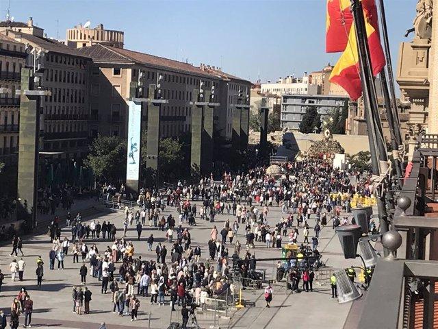Vista de la plaza del Pilar de Zaragoza de este miércoles, 13 de octubre.