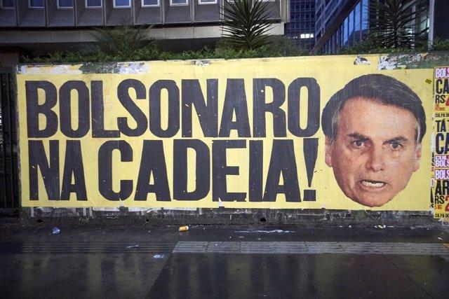 Manifestación contra Jair Bolsonaro en Sao Paulo.