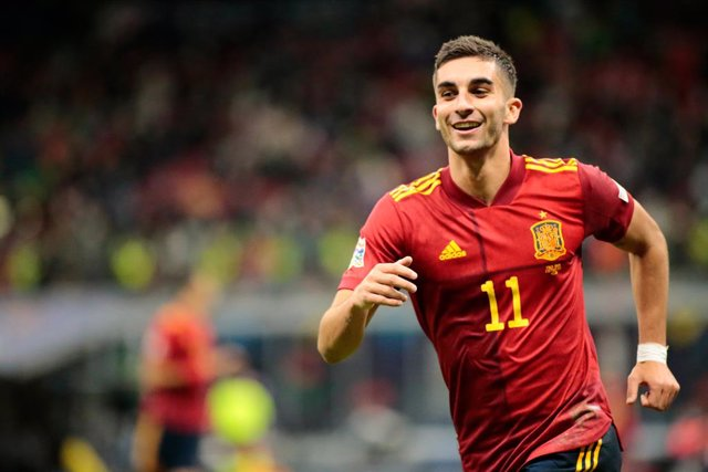 Ferran Torres (Spain) celebrating after scoring the second goal during the UEFA Nations League, Semi-finals football match between Italy and Spain on October 6, 2021 at Giuseppe Meazza stadium in Milan, Italy - Photo Nderim Kaceli / DPPI