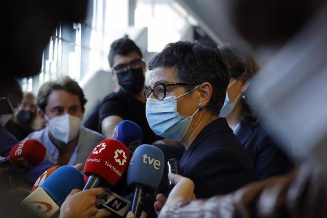 La exministra de Asuntos Exteriores Arancha González Laya responde a los medios a su salida del Juzgado de Instrucción Número 7 de Zaragoza donde ha acudido para declarar en relación a la entrada en España de Brahim Ghali, a 4 de octubre de 2021, en Zarag