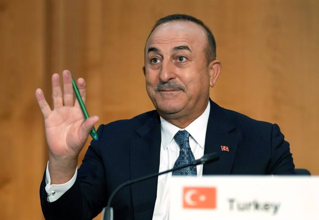 Archivo - 23 June 2021, Berlin: Turkish Foreign Minister Mevlut Cavusoglu attends the second Berlin Libya Conference at the Federal Foreign Office in Berlin. Photo: Michael Sohn/AP-Pool/dpa