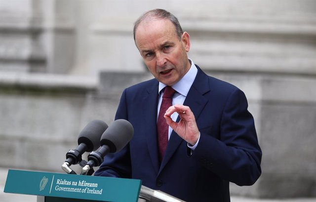 14 October 2021, Ireland, Dublin: Irish Taoiseach Micheal Martin gives a press conference at Government Buildings, on the launch of Jigsaw's Organisation Strategy. Photo: Philipp Znidar/dpa